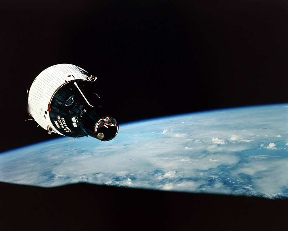 On Dec. 4, 1965, the United States launched Gemini 7 with Air Force Lt. Col. Frank Borman and Navy Cmdr. James A. Lovell aboard on a two-week mission. (While Gemini 7 was in orbit, its sister ship, Gemini 6A, was launched on Dec. 15 on a one-day mission; the two spacecraft were able to rendezvous within a foot of each other.) Photo: Popperfoto, Getty Images / Popperfoto