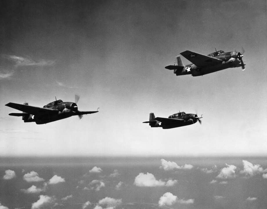 "On Dec. 5, 1945, five U.S. Navy torpedo bombers mysteriously disappeared after taking off from Fort Lauderdale, Florida, on a training mission (designated as Flight 19) with the loss of all 14 crew members; ""The Lost Squadron,"" as it came to be known, later contributed to the legend of the Bermuda Triangle. Photo: Hulton Archive, Getty Images / Archive Photos"