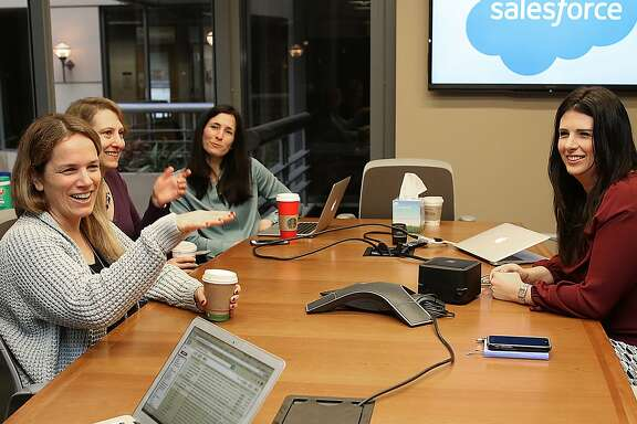 Left to right--SVP of product marketing sales cloud Sara Varni, VP of tech services Andrea Leszek,VP of customer experience Marie Rosecrans, and VP of product management Shannon Duffy,  gather in a Salesforce conference room in San Francisco, California, on Monday, November 23, 2015.