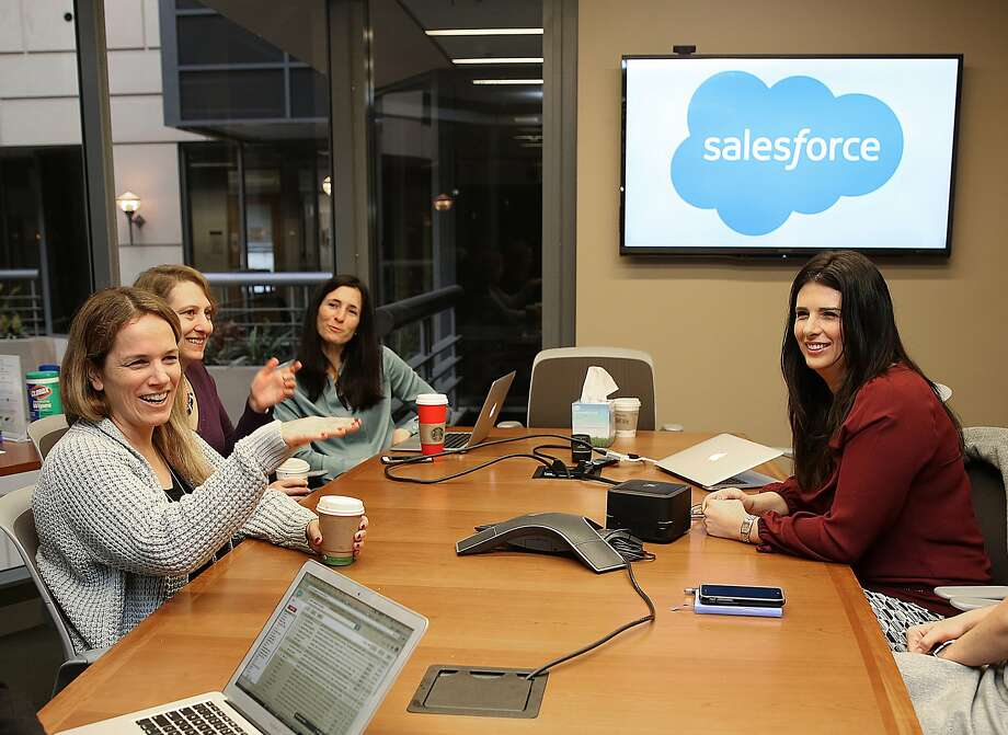 Left to right--SVP of product marketing sales cloud Sara Varni, VP of tech services Andrea Leszek,VP of customer experience Marie Rosecrans, and VP of product management Shannon Duffy,  gather in a Salesforce conference room in San Francisco, California, on Monday, November 23, 2015. Photo: Liz Hafalia, The Chronicle