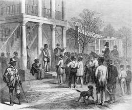 Copy of an illustration showing a free black man being sold to pay his fine, in Monticello, Florida, 1867. The sketch illustrates events which happened under the Black Codes, a series of laws passed by Southern states which imposed severe punishment upon blacks who broke labor contracts, including being sold for up to one year's labor. Many Northerners considered it another form of slavery.