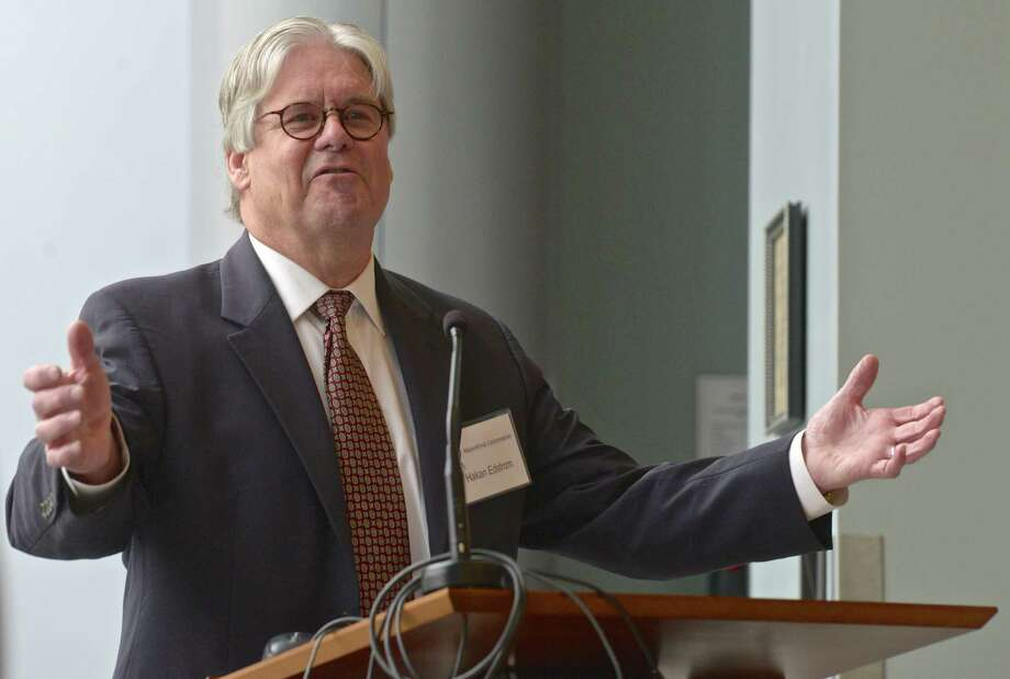 Hakan Edstrom recently stepped down as the president and chief executive officer of Mannkind. He is shown above speaking during the company's annual meeting earlier this year. Photo: H John Voorhees III / H John Voorhees III / The News-Times