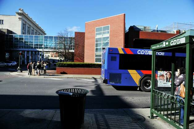 Representatives from CDTA, background left, give a tour of the future CDTA Troy Transit Center at Fulton St. and Fourth St. on Monday, Nov. 23, 2015, in downtown Troy, N.Y. (Paul Buckowski / Times Union) Photo: PAUL BUCKOWSKI / 10034394A