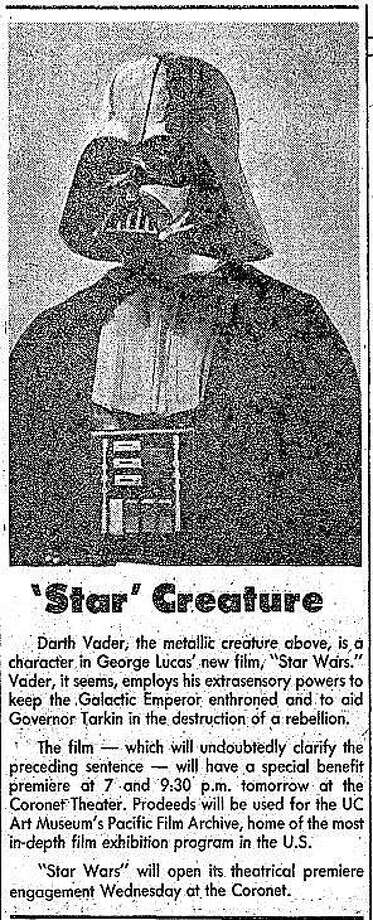 "Darth Vader, as featured in The Chronicle before the release of ""Star Wars."" Photo: Chronicle"