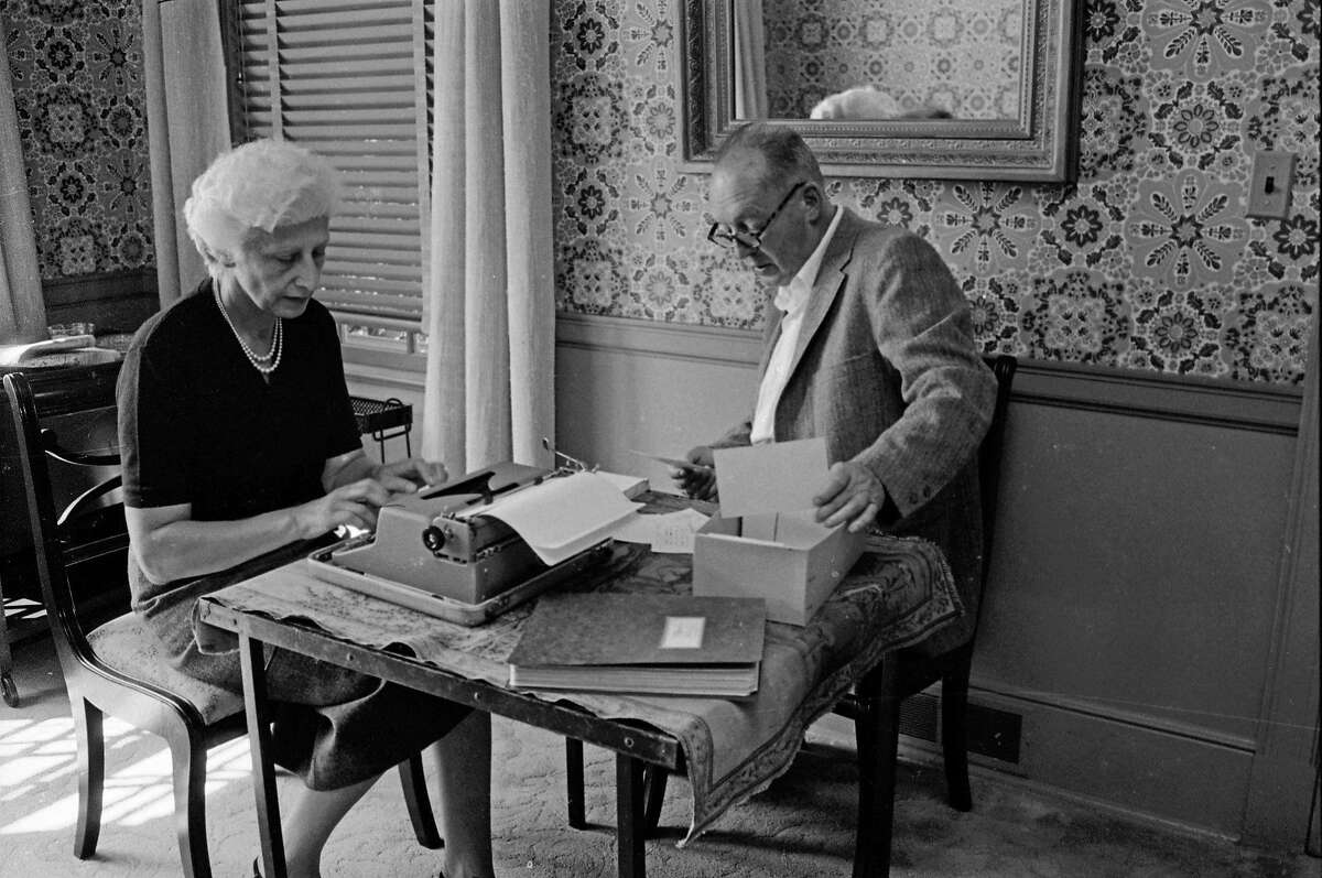 Vladimir Nabokov dictates from notecards while his wife, Véra, types in Ithaca, N.Y. in 1958.