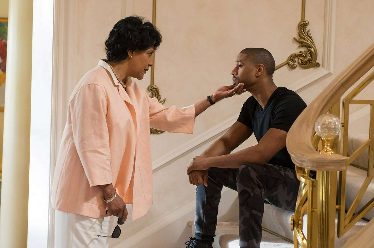 This photo provided by Warner Bros. Pictures shows Michael B. Jordan, left, as Adonis Johnson and Phylicia Rashad as Mary Anne Creed in Metro-Goldwyn-Mayer Pictures', Warner Bros. Pictures' and New Line Cinema's drama