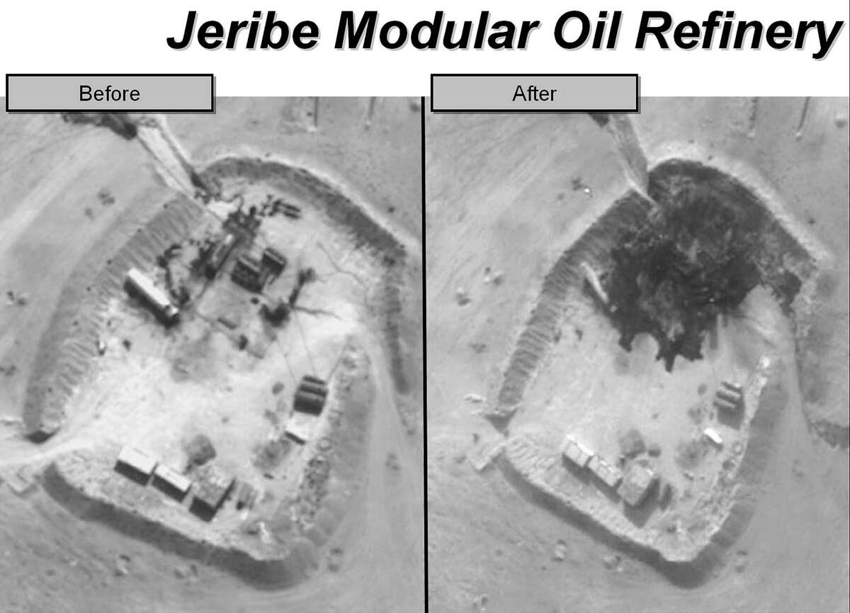 State Department photos show a small Islamic State-controlled refinery in eastern Syria before and after a bombing raid by U.S., Saudi and United Arab Emirates aircraft. The militant group's adversaries now have begun trying to disrupt its oil sales by targeting tanker convoys.