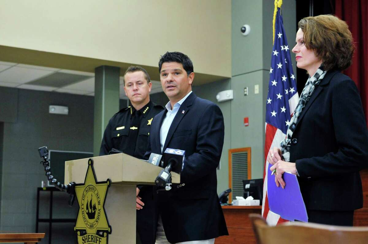 Albany County Sheriff Craig Apple, left, Senator George Amedore, center, and Assemblywoman Patricia Fahy take part in a press conference to talk about the new legislation on Monday, Nov. 23, 2015, in Clarksville, N.Y., that was passed and signed by the governor, in response to the Kenneth White case. (Paul Buckowski / Times Union)