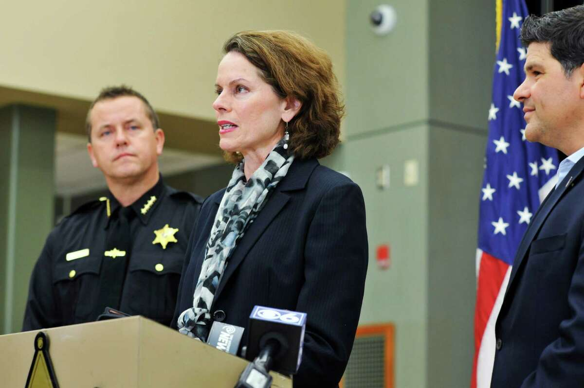 Albany County Sheriff Craig Apple, left, Assemblywoman Patricia Fahy, center, and Senator George Amedore take part in a press conference to talk about the new legislation on Monday, Nov. 23, 2015, in Clarksville, N.Y., that was passed and signed by the governor, in response to the Kenneth White case. (Paul Buckowski / Times Union)