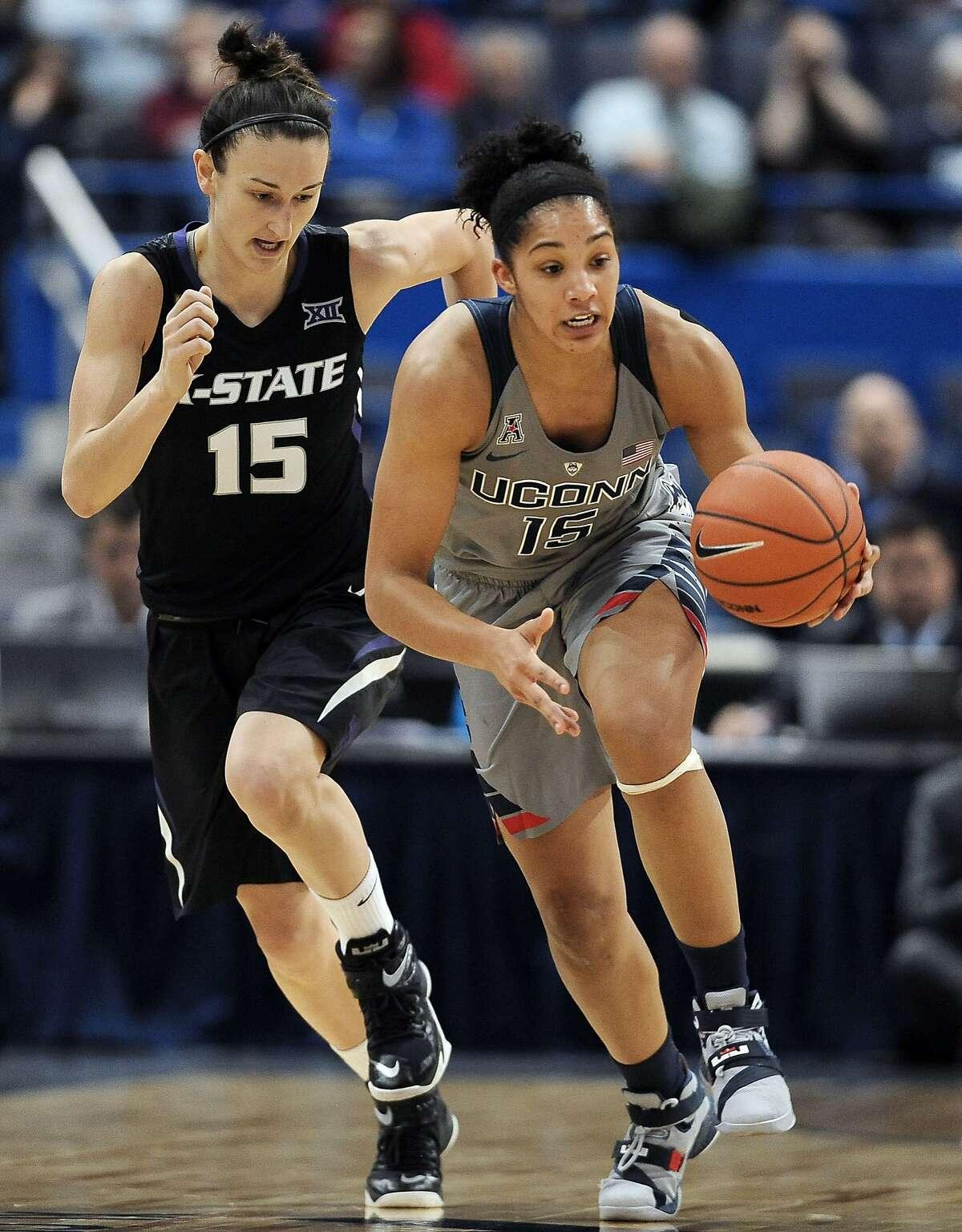 UConn vs. Kansas State - Nov. 23, 2015 W: 97-57 Led team in points: Breanna Stewart (25) Led team in rebounds: Gabby Williams (12)