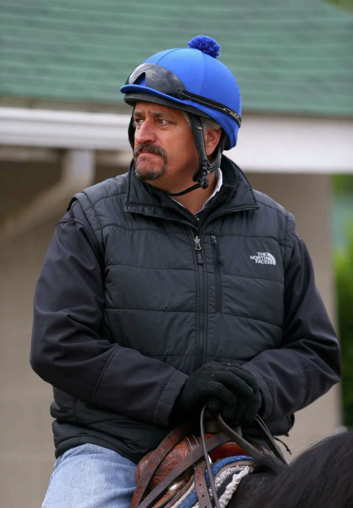 LOUISVILLE, KY - MAY 01: Steve Asmussen the trainer of Tapiture sits on his horse during the morning training for the Kentucky Derby at Churchill Downs on May 1, 2014 in Louisville, Kentucky. (Photo by Andy Lyons/Getty Images)