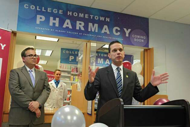 Assemblyman Angelo Santabarbara speaks during a press conference at the Hometown Health Center on Monday, Nov. 23, 2015 in Schenectady, N.Y. People gathered for an announcement of a first-of-a kind alliance in the Capital Region between Hometown Centers (HHC), the countyOs only not-for-profit, federally qualified health center, and Albany College of Pharmacy and Health Sciences (ACPHS). Joe Gambino, CEO, Hometown Health Centers, left, also spoke. (Lori Van Buren / Times Union) Photo: Lori Van Buren / 10034397A