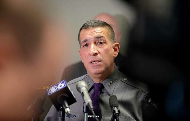 State Police Superintendent Joseph D?Amico introduces the See Something, Send Something app, a new law enforcement smartphone app for reporting suspicious activity, Monday morning, Nov. 23, 2015, during a press conference at Albany International Airport in Colonie, N.Y. The app allows you to photograph suspicious packages, activities or other items that raise concern and send the photo and message to the nearest state police or homeland security center, where it?s evaluated and can be acted on. It is available at the Google Play and the Apple App store.  (Will Waldron/Times Union) Photo: Will Waldron / 10034404A