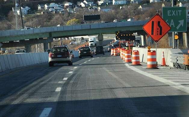 Construction on the  I-90 Patroon Island Bridge causes lane closures on Monday, Nov. 23, 2015 in Rensselaer , N.Y.  (Lori Van Buren / Times Union) Photo: Lori Van Buren / 10034406A