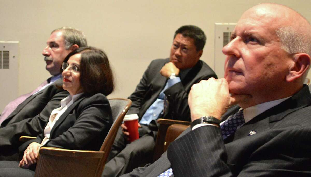 Town and state officials on hand for the forum led by state Department of Transportation on the future of the Saugatuck bridge included, from left, state Rep. Jonathan Steinberg, state Sens. Toni Boucher and Tony Hwang, and First Selectman Jim Marpe.