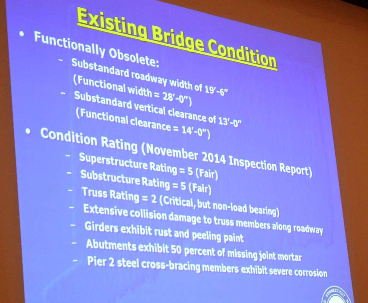 A slide projected at Monday's forum on the Saugatuck bridge lists problems the state Department of Transportation has identified with the 131-year-old span.