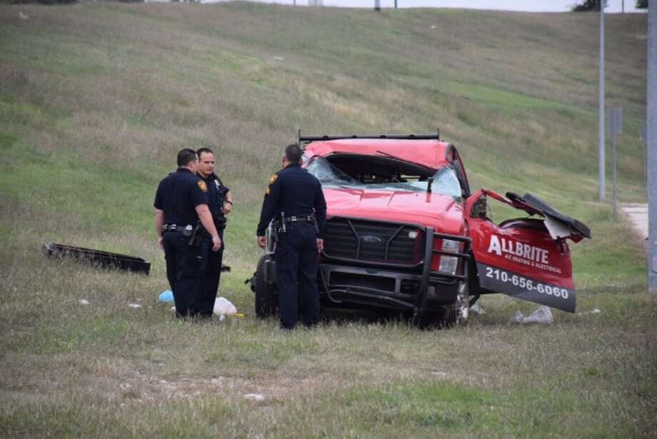 A man crashed his truck early Tuesday morning while driving west on Wurzbach Parkway near Perrin Beitel Road on Nov. 24, 2015. Photo: By Mark D. Wilson/San Antonio Express-News