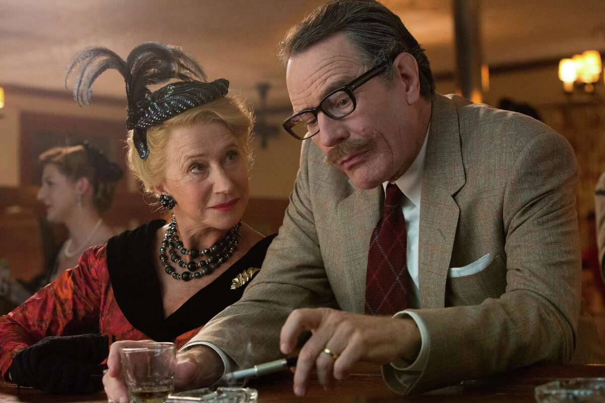 """This photo provided by Bleecker Street shows, Helen Mirren, left, as Hedda Hopper and Bryan Cranston as Dalton Trumbo, in Jay RoachÂ?'s """"Trumbo,"""" a Bleecker Street release. The movie opens in U.S. theaters on Friday, Nov. 6, 2015. (Hilary Bronwyn Gayle/Bleecker Street via AP)"""