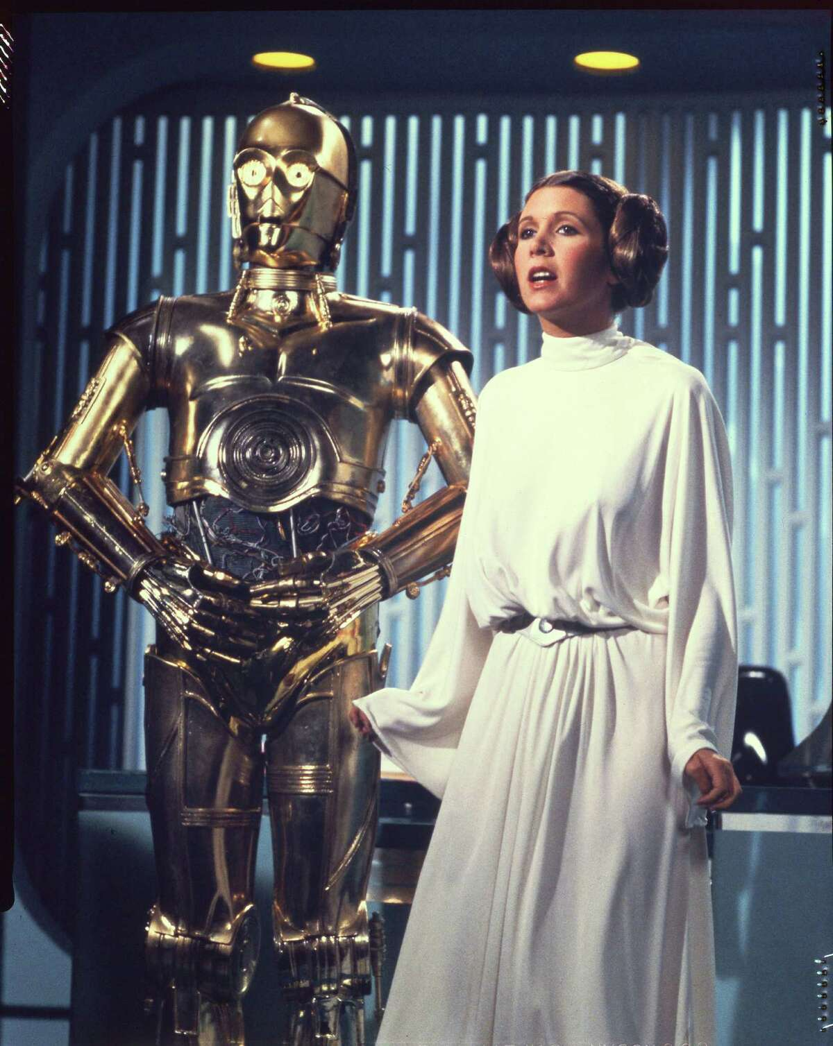 STAR WARS (1977) - See Threepio and Princess Leia (CARRIE FISHER)
