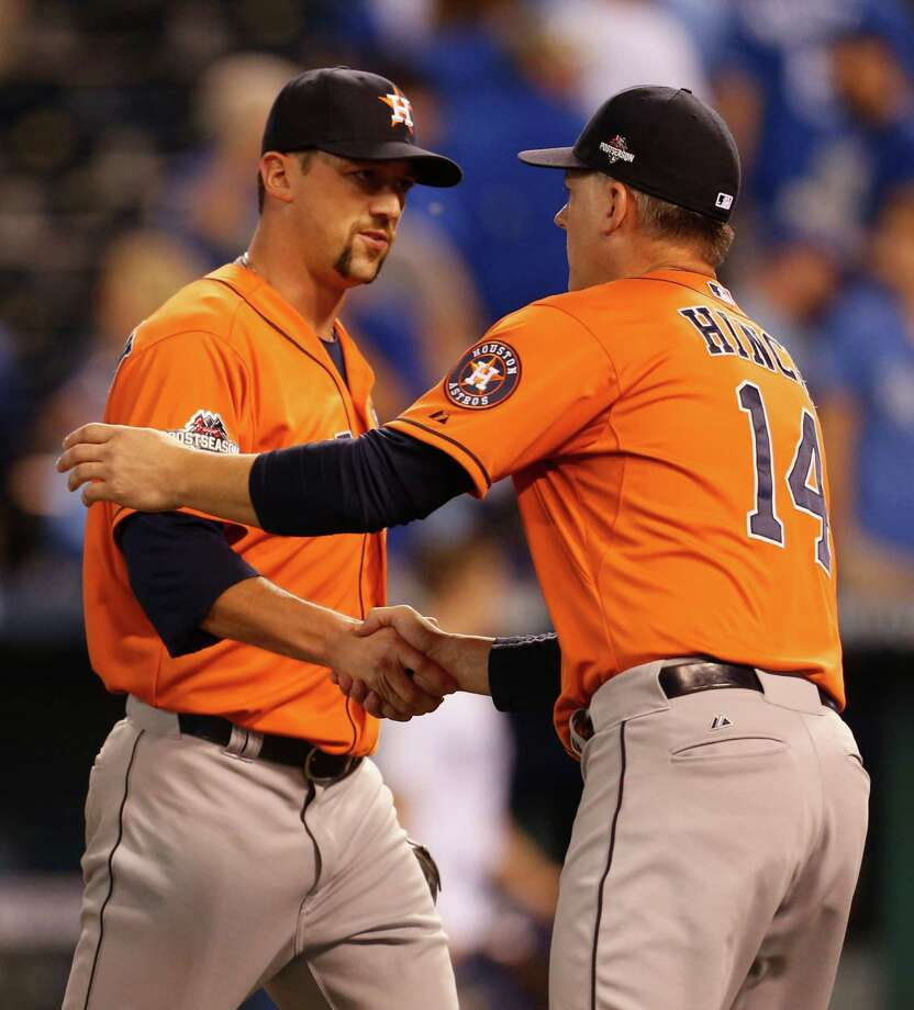 Manager A.J. Hinch has picked incumbent Luke Gregerson (left) to serve as the Astros' primary closer to start the season. Photo: Karen Warren, Staff / © 2015 Houston Chronicle