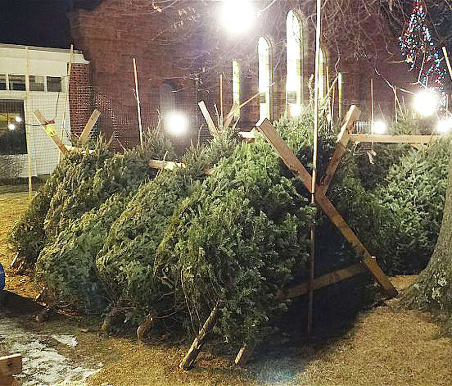 Christmas trees and wreaths will be sold throughout the holiday season by Boy Scout Troop 82 on the grounds of the historic First Church Congregational, shown here last year. Photo: File Photo / Fairfield Citizen