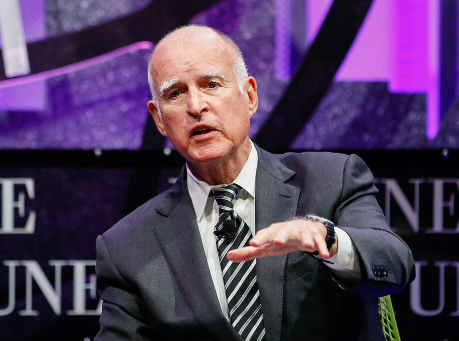 Gov. Jerry Brown speaks at the Fortune Global Forum at Fairmont Hotel on November 2, 2015 in San Francisco. E-mails sent to and from Brown are at the heart of a dispute over shutdown costs for the San Onofre nuclear power plant in San Diego County. Photo: Kimberly White, Getty Images For Fortune
