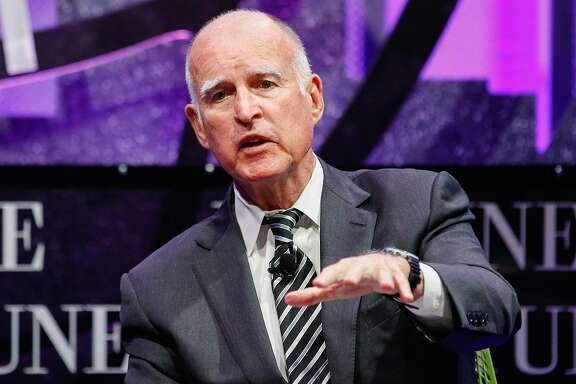 SAN FRANCISCO, CA - NOVEMBER 02:  Jerry Brown speaks at the Fortune Global Forum at Fairmont Hotel on November 2, 2015 in San Francisco, California.  (Photo by Kimberly White/Getty Images for Fortune)