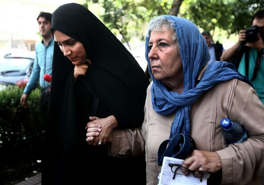 Mary Rezaian (right) and Yeganeh Salehi leave a Tehran court in August. Photo: Behrouz Mehri, AFP / Getty Images