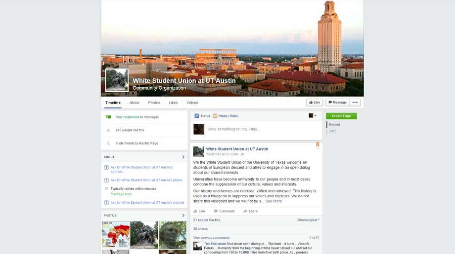 "Officials at the University of Texas at Austin have asked Facebook to remove a page for a ""white student union"" claiming ties to the university, but the page is likely a hoax. Photo: Screenshot Via Facebook"