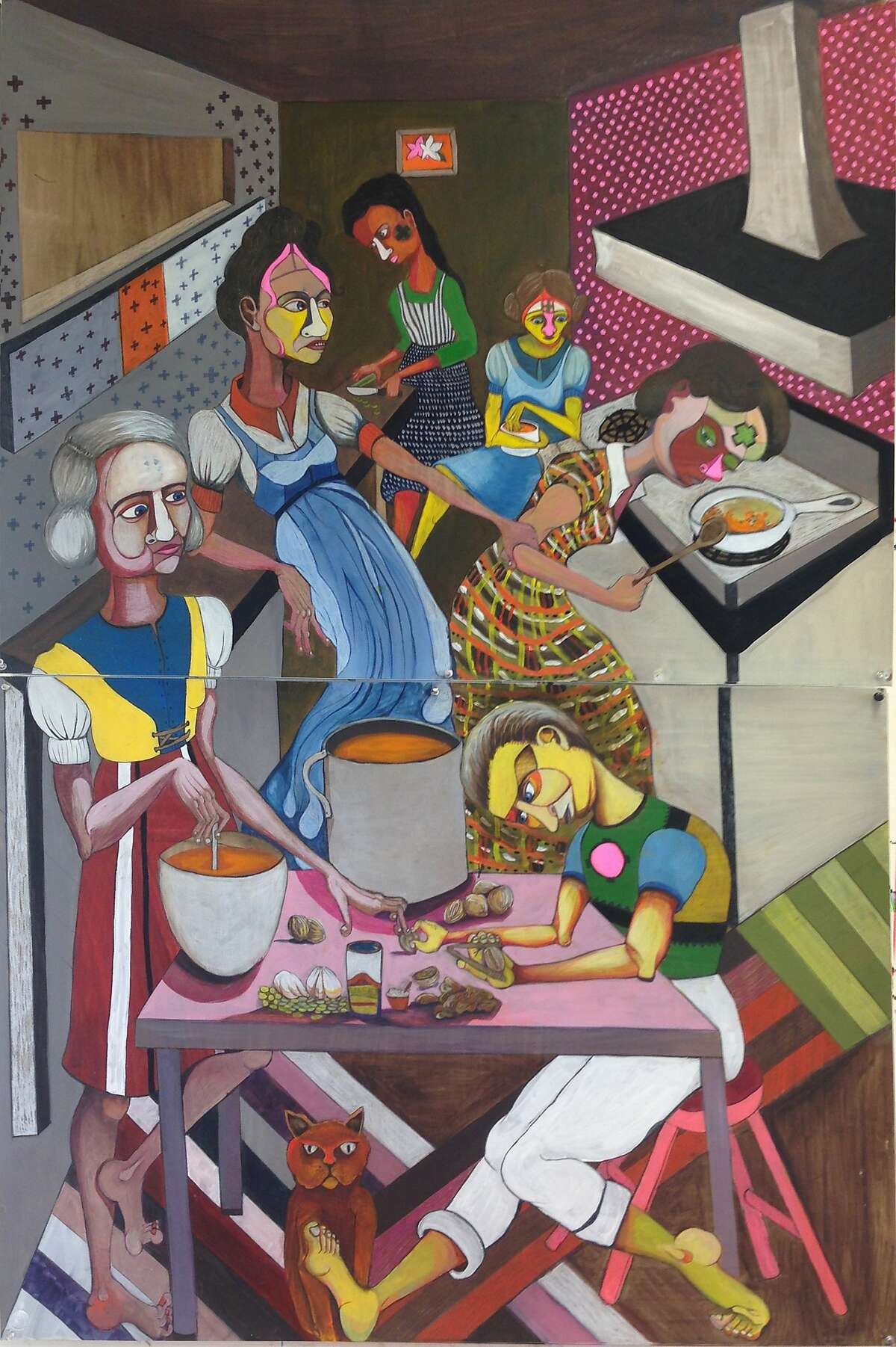 """Leigh Barbier's 40-by-60-inch gouache, acrylic, ink and color pencil on paper work """"The Soup Makers"""" is showcased in """"The_Inbetween_Forest"""" through Dec. 5 at Gallery 60Six."""