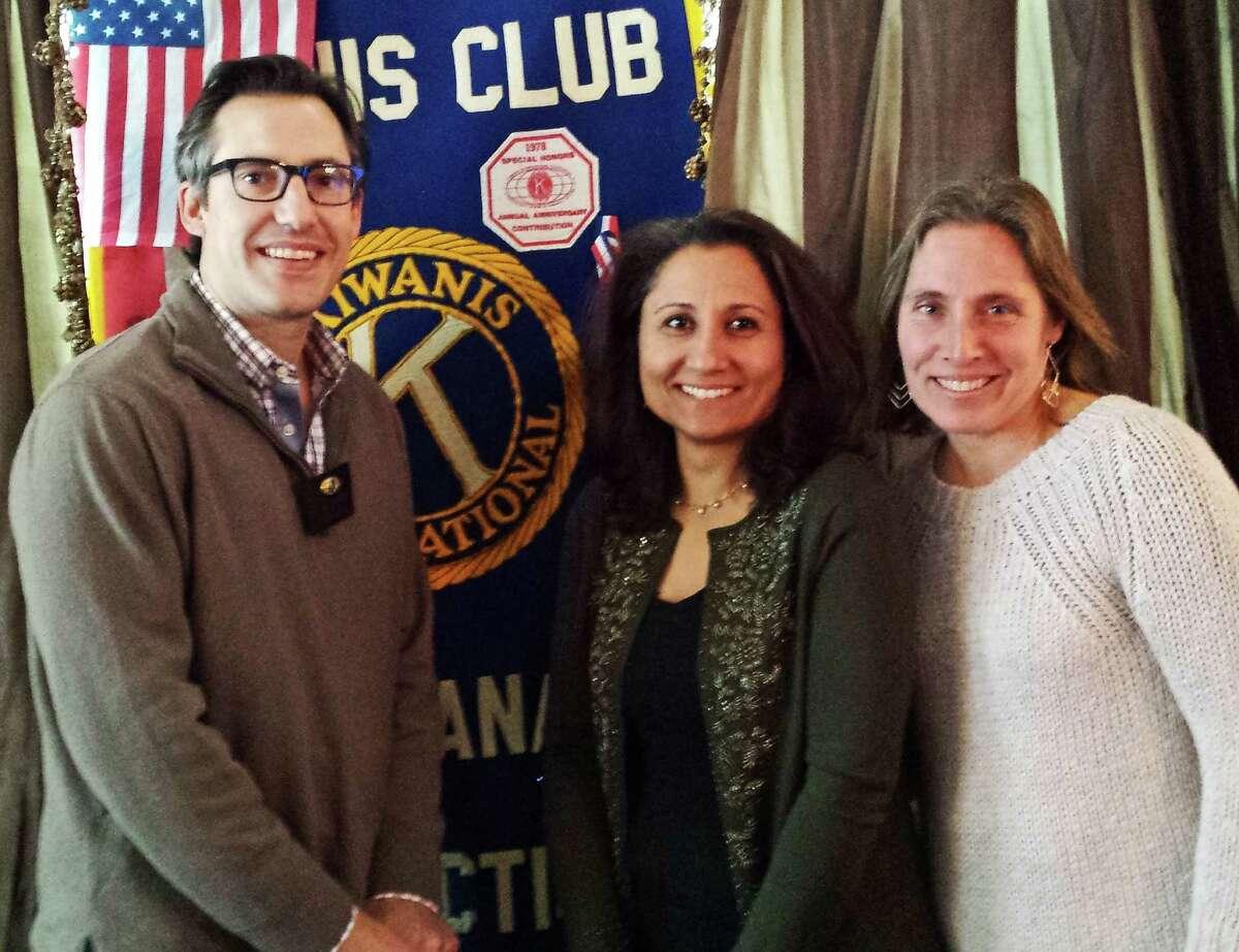 Doug Stewart, from left, Shekaiba Wakili-Bennett and Ann Wronski at a recent New Canaan Kiwanis luncheon at the Roger Sherman Inn.