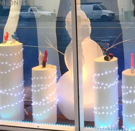 Good Vibrations holiday window display of dildos in San Francisco, November 2015
