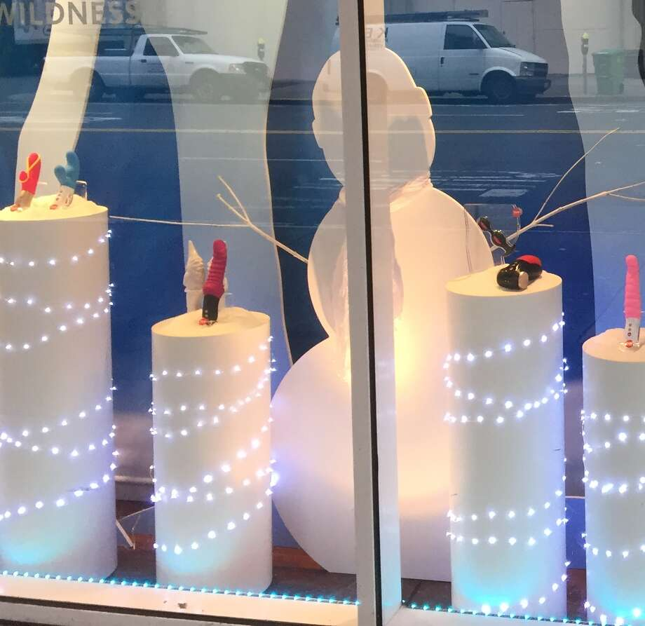 Good Vibrations holiday window display of dildos in San Francisco, November 2015 Photo: SFGATE