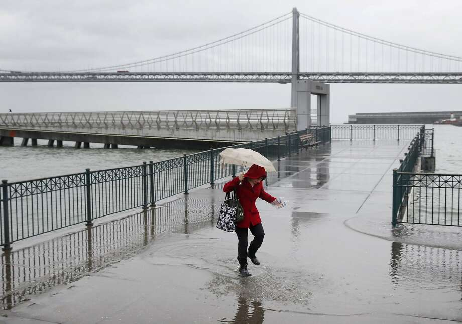 Sylvie Lee walks through a puddle created by king tides after picking up plastic bottles floating in the bay at Pier 14 along the Embarcadero in San Francisco, Calif. on Tuesday, Nov. 24, 2015. King tide conditions are causing higher than usual water levels. Photo: Paul Chinn, The Chronicle