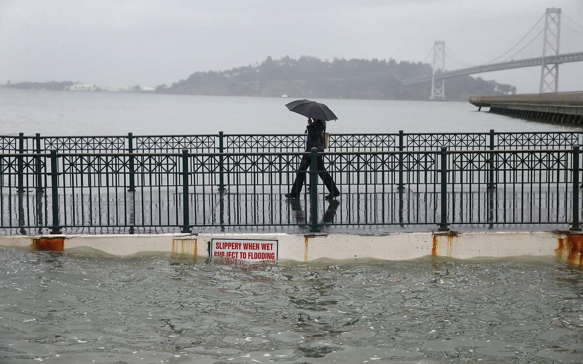 Luna Taylor walks off of Pier 14 during the peak of the high tide along the Embarcadero in San Francisco, Calif. on Tuesday, Nov. 24, 2015. Projections suggest that sea level rise could make such tides commonplace - which is part of the reason for Bay Area: Resilient by Design, a design competition where 10 multi-disciplinary teams will be awarded $250,000 each to explore how sea level rise can be managed in the decades ahead. The competition was announced this week and will run 15 months.