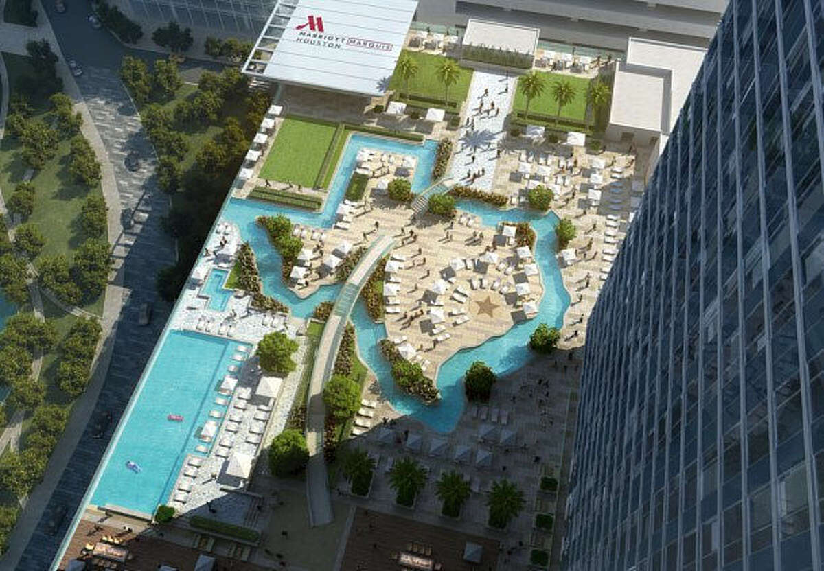 The Marriott Marquis Houston is scheduled to open in September 2016 in Downtown Houston. Features include 1,000 guest rooms, 100,000 squere feet of meeting space, a skybridge to the nearby George R. Brown Convention Center and a rooftop lazy river shaped like Texas overlooking Discovery Green Park.