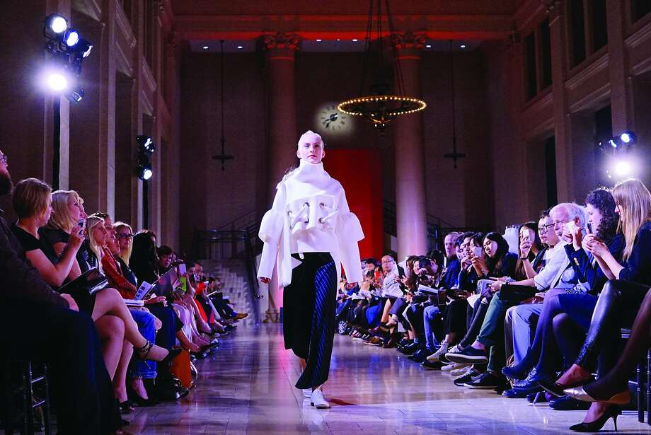 American designer Haining Zhu of Parsons The New School for Design in New York showed a mini collection at the Arts of Fashion runway show at the Bently Reserve Oct. 27. Photo: Rommi Linnik