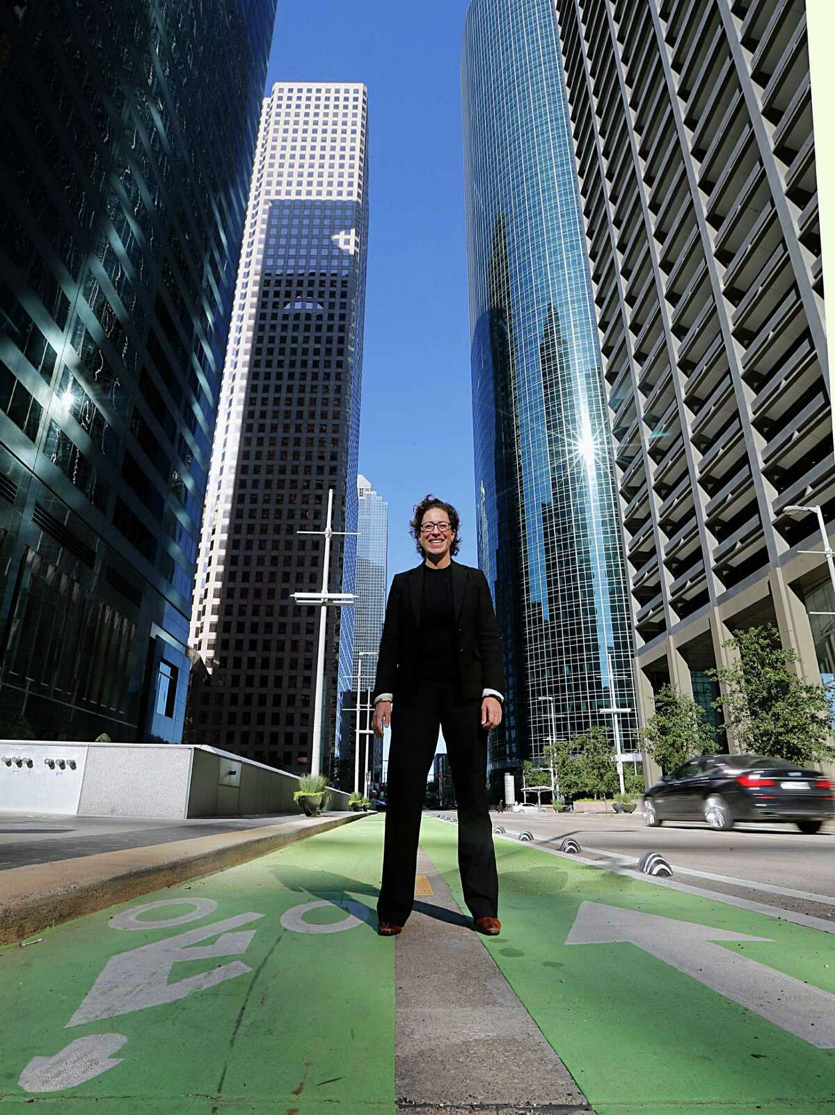 The City of Houston's first director of Sustainability Laura Spanjian poses for portrait on the Lamar bike lane near Milam on Monday, Nov. 23, 2015, in Houston. ( James Nielsen / Houston Chronicle )