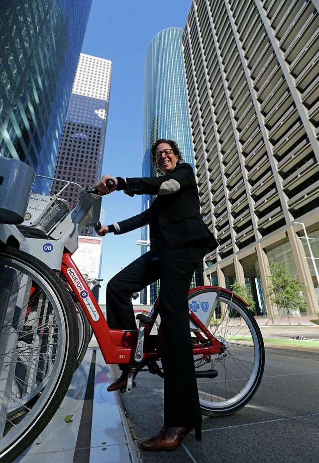 """Laura Spanjian, who has left her job in the Office of Sustainability, helped start the city's Bike Share program. Houstonians """"want a lot more quality-of-life amenities,"""" she says. Photo: James Nielsen, Staff / © 2015  Houston Chronicle"""