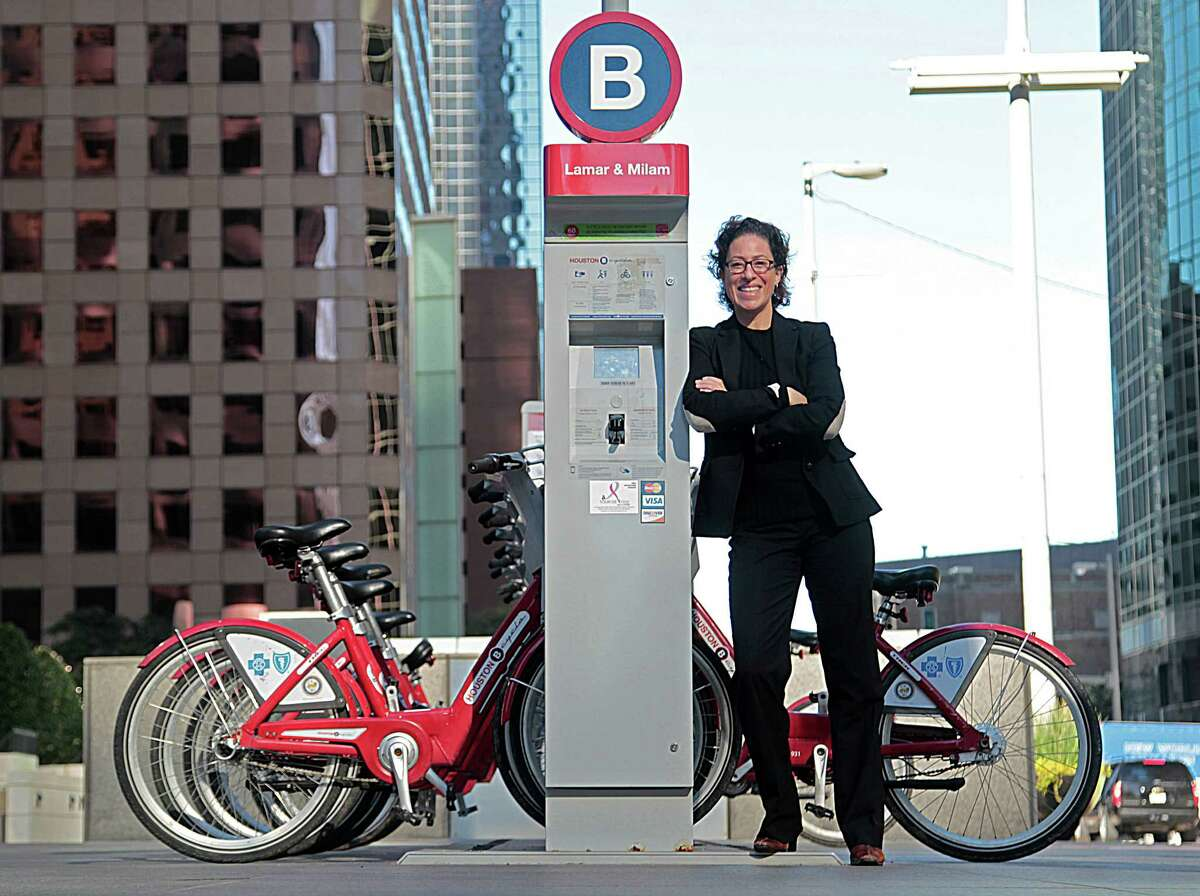 The City of Houston's first director of Sustainability Laura Spanjian poses for portrait at the B-Cycle Station at Lamar and Milam Monday, Nov. 23, 2015, in Houston. ( James Nielsen / Houston Chronicle )