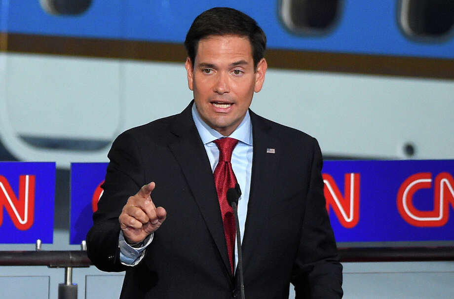 Republican presidential candidate, Sen. Marco Rubio, R-Fla., speaks during the Republican presidential debate at the Ronald Reagan Presidential Library and Museum in Simi Valley, Calif.  Photo: Mark J. Terrill / Associated Press / AP