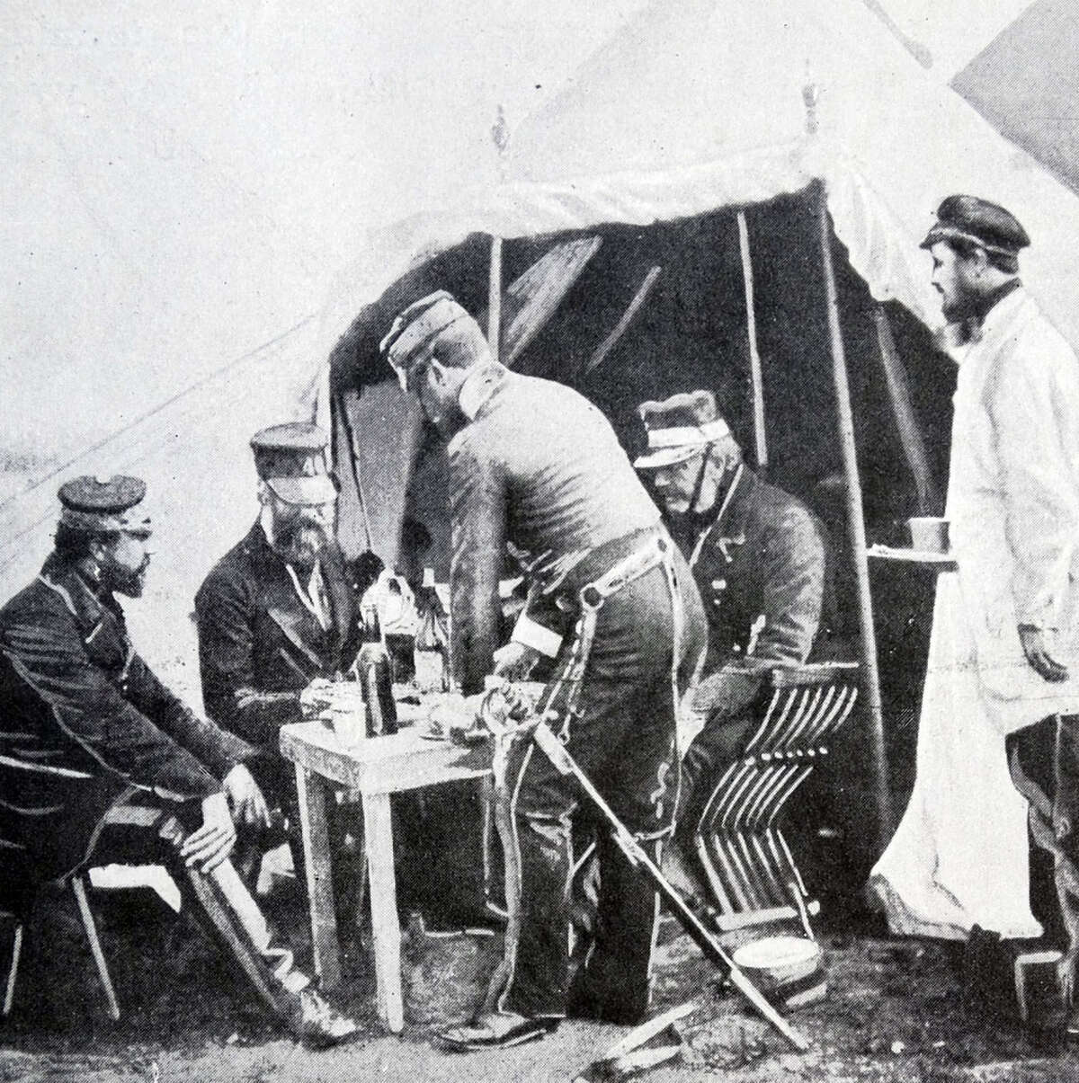 British officers during the Crimean war, 1854.
