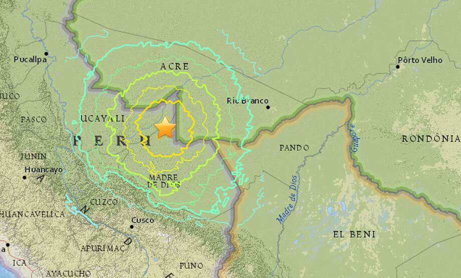 An earthquake struck Tuesday evening on Peru's border with Brazil. Photo: USGS