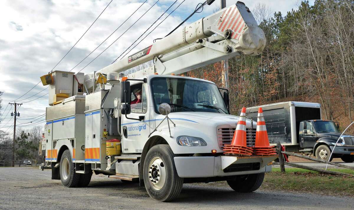 A National Grid truck on the side of Route 29 awaits its next assignment on Nov. 24, 2015 in Saratoga Springs, NY. (John Carl D'Annibale / Times Union)
