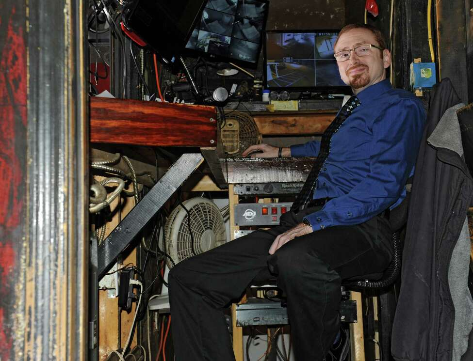 Owner Steven Dick Jr. sits in the audio/video booth at Nite Moves on Monday, Nov. 23, 2015 in Latham, N.Y. (Lori Van Buren / Times Union)