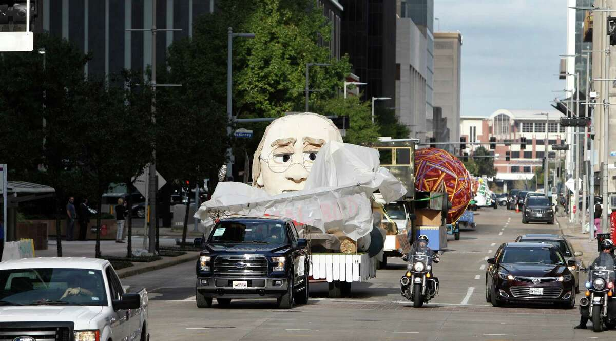 Trucks ferry floats through downtown Houston prioro to the 66th H-E-B Thanksgiving Day Parade on Nov. 24, 2015.
