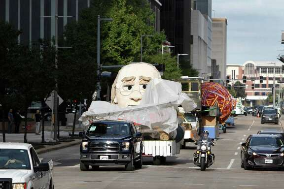 In preparation of the 66th H-E-B Thanksgiving Day Parade through downtown near Milam and Lamar Streets Tuesday, Nov. 24, 2015, in Houston. The floats will be paraded down the streets from their warehouse location through downtown to the staging area.