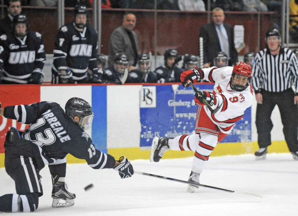 RPI's Meirs Moore takes a shot on goal during their men's college hockey game against New Hampshire at the Houston Field House on Tuesday Nov. 24, 2015 in Troy, N.Y. (Michael P. Farrell/Times Union)