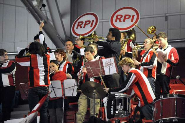 The RPI pep band play's during the Engineer's men's college hockey game against New Hampshire at the Houston Field House on Tuesday Nov. 24, 2015 in Troy, N.Y. (Michael P. Farrell/Times Union) Photo: Michael P. Farrell / 10034421A