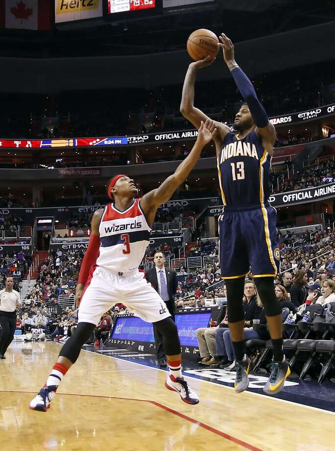 Indiana's Paul George was 7-of-8 on three-point shots in a 40-point game. Photo: Alex Brandon, Associated Press